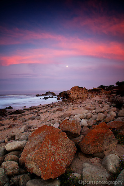 Sunset along the shoreline at the Monterey Coast.