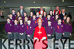 Pupils from Gaelscoil Aogain with Bishop Ray Browne, Principal Prionsias MacCurtin, teacher Tomás O Murchú after they made their Confirmation in the Church of the Ressurection on Friday