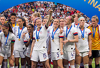 LYON,  - JULY 7: Megan Rapinoe #15, Alex Morgan #13, and the USWNT celebrate during a game between Netherlands and USWNT at Stade de Lyon on July 7, 2019 in Lyon, France.