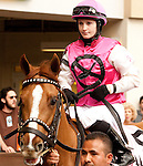 Feb 2011:  Working For Hops and Anna Napravnik (8) before the Fair Grounds Handicap at the Fairgrounds in New Orleans, Louisiana.