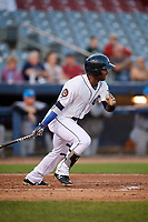 Connecticut Tigers third baseman Alexis Garcia (30) follows through on a swing during a game against the Hudson Valley Renegades on August 20, 2018 at Dodd Stadium in Norwich, Connecticut.  Hudson Valley defeated Connecticut 3-1.  (Mike Janes/Four Seam Images)