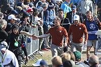 Tyrrell Hatton (Team Europe) & Paul Casey (Team Europe) head to 15 during Saturday's Fourballs, at the Ryder Cup, Le Golf National, Île-de-France, France. 29/09/2018.<br /> Picture David Lloyd / Golffile.ie<br /> <br /> All photo usage must carry mandatory copyright credit (© Golffile | David Lloyd)