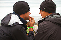 "JEFFREYS BAY, South Africa (Saturday, July 23, 2011) - Andy King (AUS)  coaches Mick Fanning (AUS) before  a heat. The Billabong Pro Jeffreys Bay, Event No. 4 of 11 on the 2011 ASP World Title season recommenced this morning with Round 3 at 7:15am in consistent four-to-six foot (1.5 metre) surf.. .After navigating a period of tricky swell, event organizers had been greeted with excellent conditions this morning, opening with Round 3 of competition and following with Rounds 4 and 5.. .""It's been a lengthy wait but we're excited to have such good surf on offer today and will be making the most of it,"" Rich Porta, ASP International Head Judge, said. .Surfline, official forecasters for the Billabong Pro Jeffreys Bay, are calling for a solid SSW push through the day.. .  Photo: joliphotos.com"