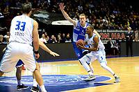 GRONINGEN - Basketbal, Donar - Landstede Martiniplaza, Dutch Basketbal League, seizoen 2018-2019, 06-12-2018, Donar speler Teddy Gipson met Landstede speler Kevin Bleeker