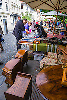Ljubljana Sunday antiques and flea market held on the Breg Embankment in the centre of Ljubljana, Slovenia, Europe