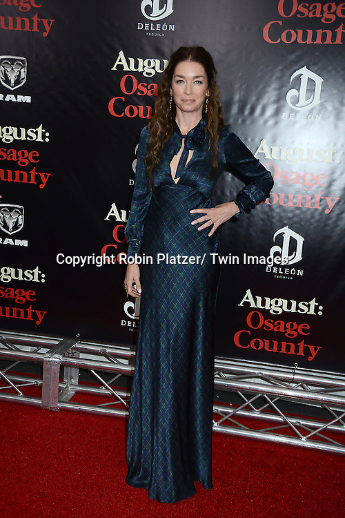 "Julianne Nicholson in Alberta Ferretti plaid dress attends the New York Premiere of ""August: Osage County"" on December 12, 2013 at the Ziegfeld Theatre in New York City."