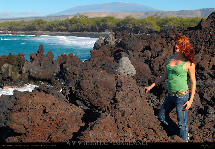 Makolea Black Sand Beach, Aa Lava, Kona Coast, Big Island of Hawaii