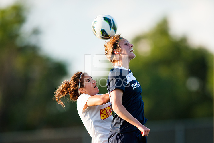 Sky Blue FC midfielder Sophie Schmidt (16) goes up for a header with Western New York Flash midfielder Angela Salem (6). The Western New York Flash defeated Sky Blue FC 3-0 during a National Women's Soccer League (NWSL) match at Yurcak Field in Piscataway, NJ, on June 8, 2013.