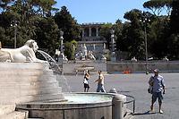 Rome  August  21 2008.Piazza del Popolo and the Pincio (the hill overlooking Piazza del Popolo)