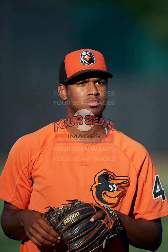 Aberdeen IronBirds pitcher Jose Diaz (40) warms up before a game against the Staten Island Yankees on August 23, 2018 at Leidos Field at Ripken Stadium in Aberdeen, Maryland.  Aberdeen defeated Staten Island 6-2.  (Mike Janes/Four Seam Images)