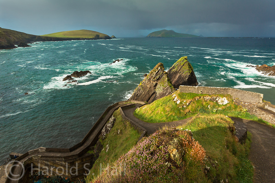 This winding path leads one to the still operating Dunquin Pier.  Boats leave daily for Blasket Island seen in the distance.  It is also an active fishing port supplying the local restaurants with a fresh catch of the day.