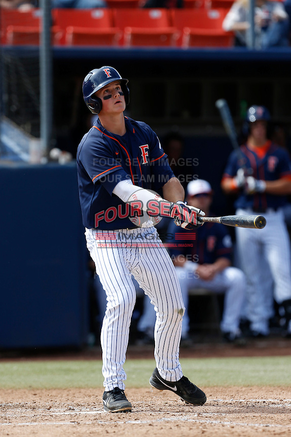Matt Chapman #19 of the Cal State Fullerton Titans bats against the Oregon Ducks at Goodwin Field on March 3, 2013 in Fullerton, California. (Larry Goren/Four Seam Images)