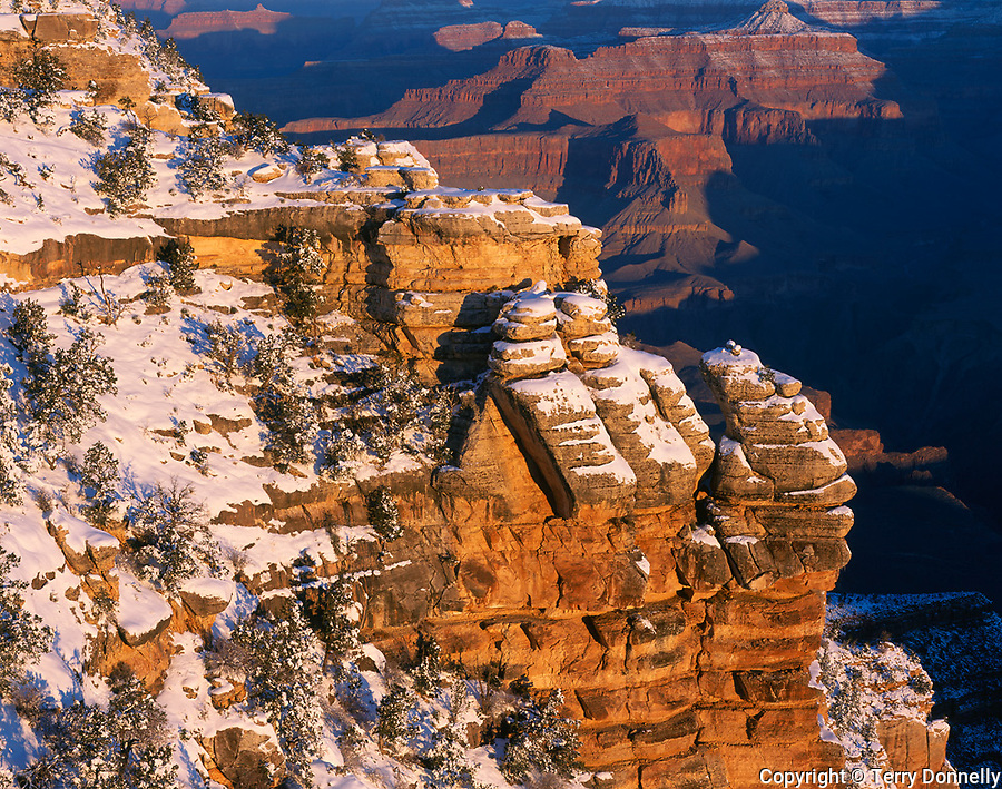 Grand Canyon National Park, AZ   <br /> Morning light on South Rim with fresh snow - from Mather Point