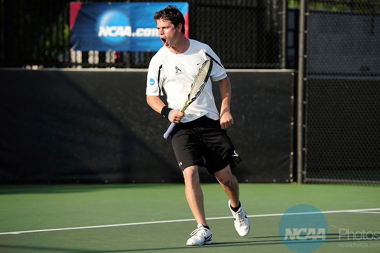 26 MAY 2011: Wes Waterman of Amherst celebrates winning a point during the Division III Men's Tennis Championship held at the Biszantz Family Tennis Center and Pauley Tennis Complex in Claremont, CA. Amherst defeated Emory 5-2 for the national title. Stephen Nowland/NCAA Photos
