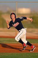 Clint Frazier #11 of the AZL Indians runs the bases during a game against the AZL Giants at the Cleveland Indians Spring Training Complex on July 11, 2013 in Goodyear, Arizona. AZL Giants defeated the AZL Indians, 19-3. (Larry Goren/Four Seam Images)