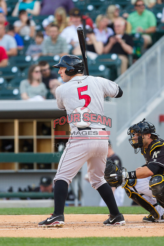 Brent Morel (5) of the Indianapolis Indians at bat against the Charlotte Knights at BB&T Ballpark on May 23, 2014 in Charlotte, North Carolina.  The Indians defeated the Knights 15-6.  (Brian Westerholt/Four Seam Images)
