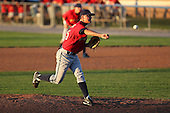 State College Spikes pitcher Ryan Beckman (35) during a game vs. the Batavia Muckdogs at Dwyer Stadium in Batavia, New York August 29, 2010.   Batavia defeated State College 6-4.  Photo By Mike Janes/Four Seam Images
