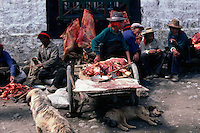 A meat stall in the Barghor Market, Lhasa.