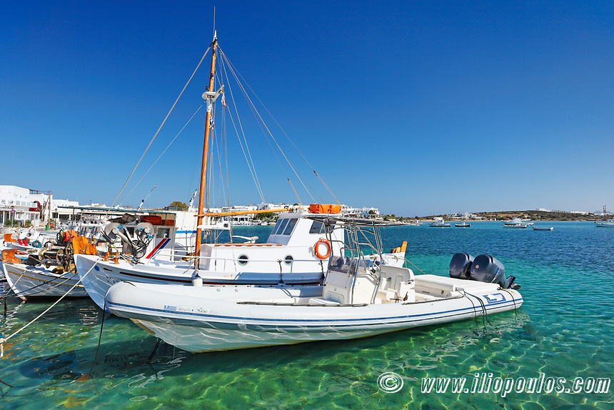 Boats at the port of Antiparos island, Greece