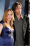 """Actress Gillian Anderson and Actor David Duchovny arrive at the The World Premiere of """"The X-Files: I Want To Believe"""" at Mann's Grauman Chinese Theatre on July 23, 2008 in Hollywood, California."""