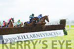 Mark Enright on Samanntom jumps the last to JP Fogarty to win the Irish Examiner Handicap Steeplechase at Killarney Races on Sunday