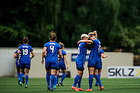 Seattle, WA - Thursday, May 26, 2016: Seattle Reign FC midfielder Beverly Yanez (17) celebrates scoring with midfielder Jessica Fishlock (10). The Seattle Reign FC of the National Women's Soccer League (NWSL) and Arsenal Ladies FC of the Women's Super League (FA WSL) played to a 1-1 tie during an international friendly at Memorial Stadium.