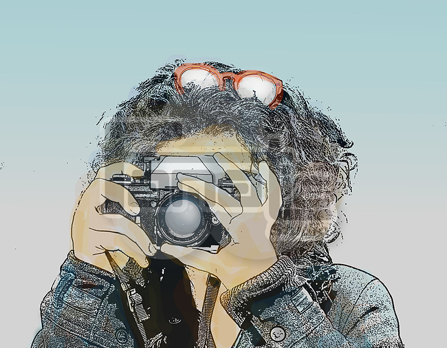 Image of a young woman pointing a vintage camera at the viewer taking a photograph