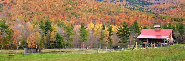 An Autumn view of a farm in the High Peaks Region of New York State's Adirondack Park.