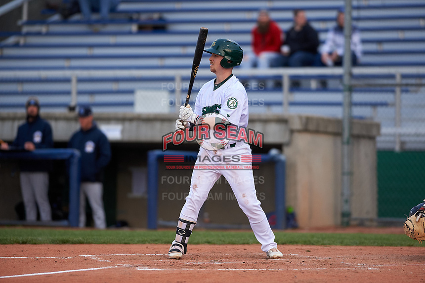 Beloit Snappers first baseman Nick Ward (8) during a Midwest League game against the Lake County Captains at Pohlman Field on May 6, 2019 in Beloit, Wisconsin. Lake County defeated Beloit 9-1. (Zachary Lucy/Four Seam Images)