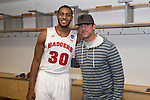 Wisconsin Badgers Vitto Brown (30) with Green Bay Packers quarterback Aaron Rodgers after  a regional semifinal NCAA college basketball tournament game against the Baylor Bears Thursday, March 27, 2014 in Anaheim, California. The Badgers won 69-52. (Photo by David Stluka)