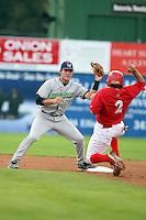September 15 2008:  Shortstop Joel Staples of the Jamestown Jammers, Class-A affiliate of the Florida Marlins, during a game at Dwyer Stadium in Batavia, NY.  Photo by:  Mike Janes/Four Seam Images