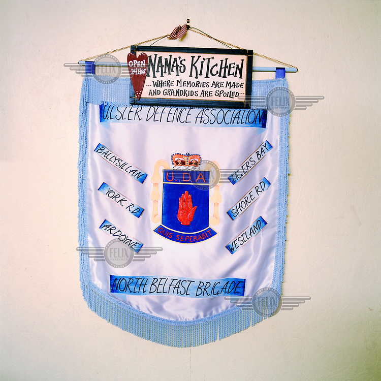 An Ulster Defence Assocation (UDA) pennant on display in the home of one of the organisation's members in north Belfast.