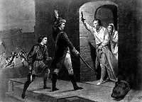 Ethan Allen and Capt. de la Place.  May 1775.  The capture of Fort Ticonderoga, NY. Copy of engraving after Alonzo Chappel. (Army)<br />Exact Date Shot Unknown<br />NARA FILE #:  111-SC-94758<br />WAR & CONFLICT #:  12