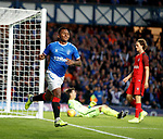 15.08.2019 Rangers v FC Midtjylland: Alfredo Morelos scores his second goal and no3 for Rangers on the night