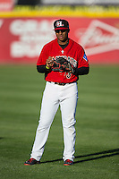Josh Morgan (3) of the Hickory Crawdads warms up in the outfield prior to the game against the Kannapolis Intimidators at L.P. Frans Stadium on April 23, 2015 in Hickory, North Carolina.  The Crawdads defeated the Intimidators 3-2 in 10 innings.  (Brian Westerholt/Four Seam Images)