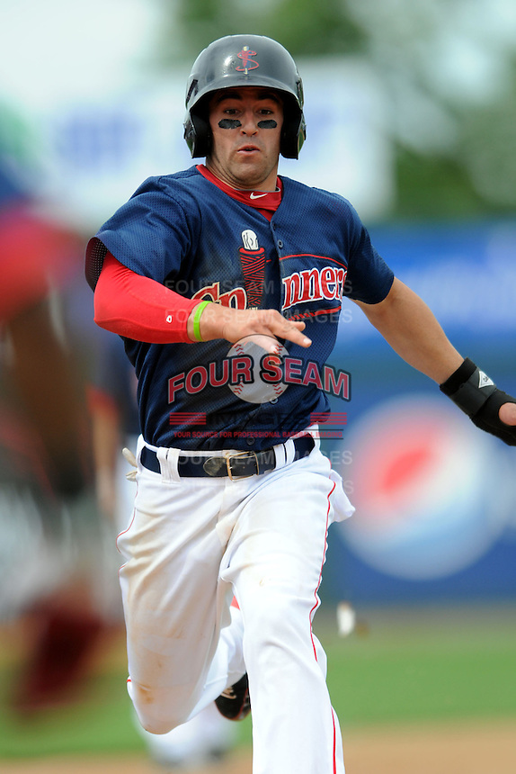 Lowell Spinners Designated Hitter Deven Marrero #6 during a game versus the Hudson Valley Renegades at LeLacheur Park in Lowell, Massachusetts on August 19, 2012. (Ken Babbitt/Four Seam Images)