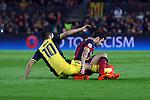 UEFA Champions League 2013/2014.<br /> Quarter-finals 1st leg.<br /> FC Barcelona vs Club Atletico de Madrid: 1-1.<br /> Arda Turan vs Cesc Fabregas.
