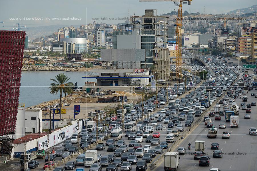 LEBANON, Beirut, heavy traffic on highway to Tripoli / LIBANON, Beirut, Autobahn Beirut-Tripoli