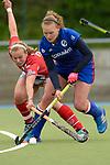 GER - Mannheim, Germany, April 22: During the German Hockey Bundesliga women match between Mannheimer HC (blue) and Club an der Alster (red) on April 22, 2017 at Am Neckarkanal in Mannheim, Germany. Final score 1-1 (HT 1-0).  Stine Kurz #27 of Mannheimer HC<br /> <br /> Foto &copy; PIX-Sportfotos *** Foto ist honorarpflichtig! *** Auf Anfrage in hoeherer Qualitaet/Aufloesung. Belegexemplar erbeten. Veroeffentlichung ausschliesslich fuer journalistisch-publizistische Zwecke. For editorial use only.