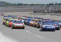 Apr 26, 2009; Talladega, AL, USA; NASCAR Sprint Cup Series driver Greg Biffle (left) and Dale Earnhardt Jr (right) lead packs of cars during the Aarons 499 at Talladega Superspeedway. Mandatory Credit: Mark J. Rebilas-