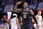 GREENVILLE, SC - MARCH 19: Duane Notice (10) of the University of South Carolina reacts after making a three point shot against Duke University during the 2017 NCAA Men's Basketball Tournament held at Bon Secours Wellness Arena on March 19, 2017 in Greenville, South Carolina. (Photo by Grant Halverson/NCAA Photos via Getty Images)