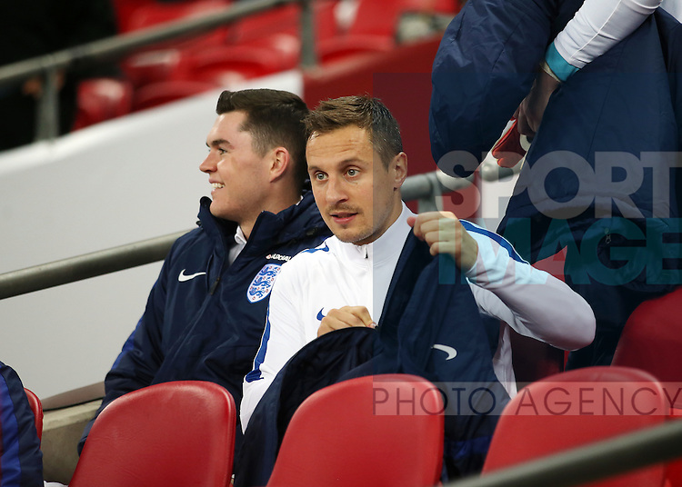 England's Phil Jagielka looks on from the bench during the friendly match at Wembley Stadium, London. Picture date November 15th, 2016 Pic David Klein/Sportimage