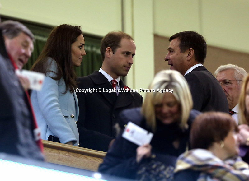 Pictured: Prince WIlliams with wife Kate Middleton speak to WRU chief executive Roger Lewis (R) on the stand. Saturday 08 November 2014<br /> Re: Dove Men Series rugby, Wales v Australia at the Millennium Stadium, Cardiff, south Wales, UK.