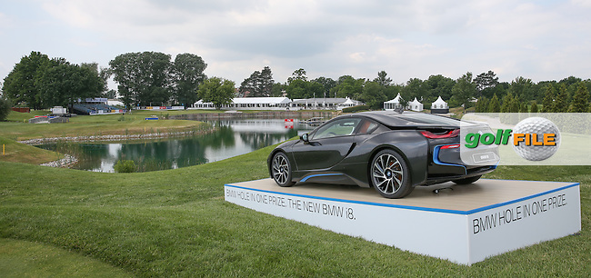 View of the 18th and there's another BMW i8 up for grabs on this par 3 hole; during the practice day ahead of the 2015 Lyoness Open powered by Greenfinity at the Diamond Country Club, Atzenbrugg, Vienna, Austria. 09/06/2015. Picture: Golffile | David Lloyd<br /> <br /> All photos usage must carry mandatory copyright credit (&copy; Golffile | David Lloyd)