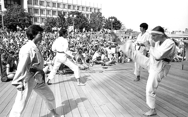 karate demonstration at Speakout at Boston City Hall Plaza on anniversary of women's suffrage 8.26.76