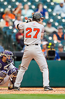 Ryan O'Hearn #27 of the Sam Houston State Bearkats at bat against the Texas Christian Horned Frogs at Minute Maid Park on February 28, 2014 in Houston, Texas.  The Bearkats defeated the Horned Frogs 9-4.  (Brian Westerholt/Four Seam Images)