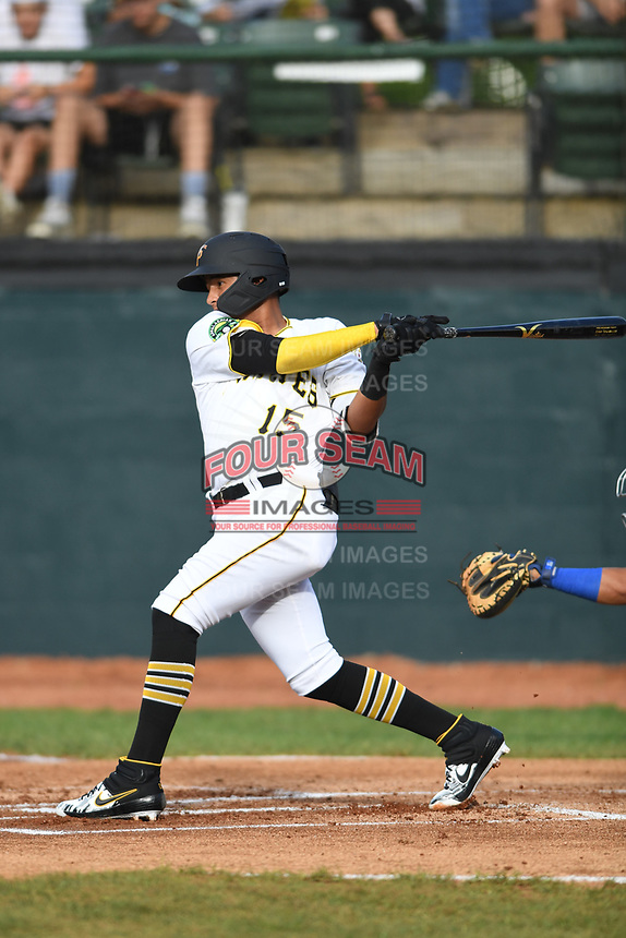 Bristol Pirates Daniel Rivero (15) bats during the game with the Burlington Royals at Boyce Cox Field on June 19, 2019 in Bristol, Virginia. The Royals defeated the Pirates 1-0. (Tracy Proffitt/Four Seam Images)