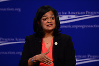"""Washington, DC - May 22, 2017: U.S. Representative Pramila Jayapal participates in the """"Beyond the Ambition Gap: challenging the Systems That Keep Women Off Ballots and Out of Office"""" panel discussion held by the Center for American Progress in the District of Columbia May 22, 2017.  (Photo by Don Baxter/Media Images International)"""