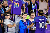 Orlando, FL - Saturday July 07, 2018: Fans, Marta during the second half of a regular season National Women's Soccer League (NWSL) match between the Orlando Pride and the Washington Spirit at Orlando City Stadium. Orlando defeated Washington 2-1.