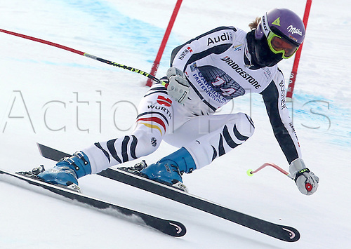 03.02.2012 Garmisch Partenkirchen, Germany.  Maria Hoefl-Riesch from Germany races down the Kandahar downhill run during the second official women's training session of the FIS Alpine Skiing World Cup